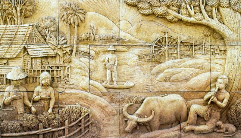 стена родной каменной штукатурки культуры тайская стоковое фото rf