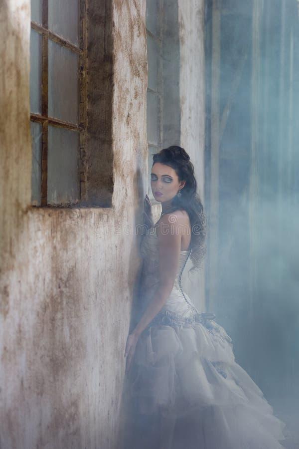 Стена сексуального agaisnt склонности невесты фантазии деревенская окруженная туманом стоковая фотография
