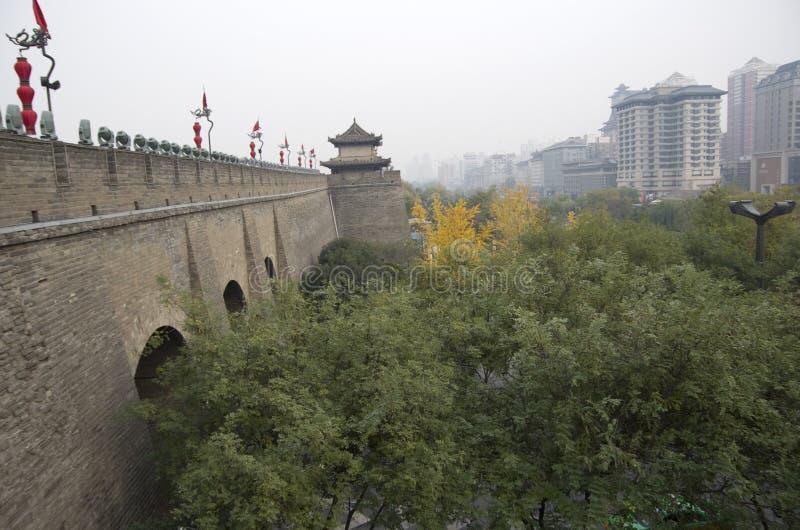 Стена Сиань Китай древнего города, Шаньси стоковая фотография rf