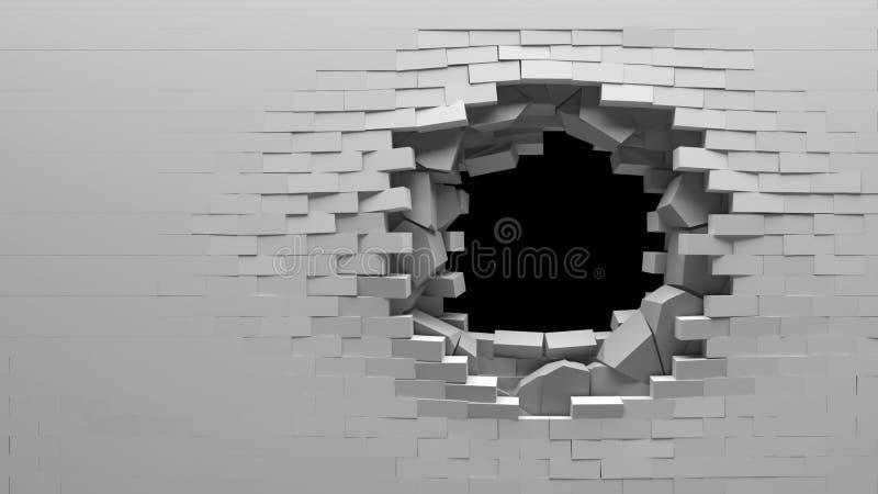 стена сломанная кирпичом иллюстрация вектора