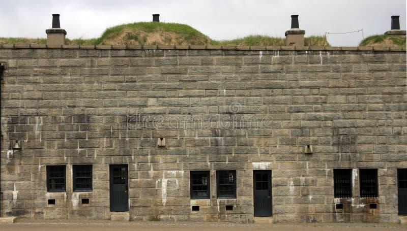 Стена старого форта каменная стоковая фотография