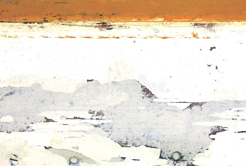 Стена с выдержанной ретро белой и оранжевой картиной стоковое фото rf