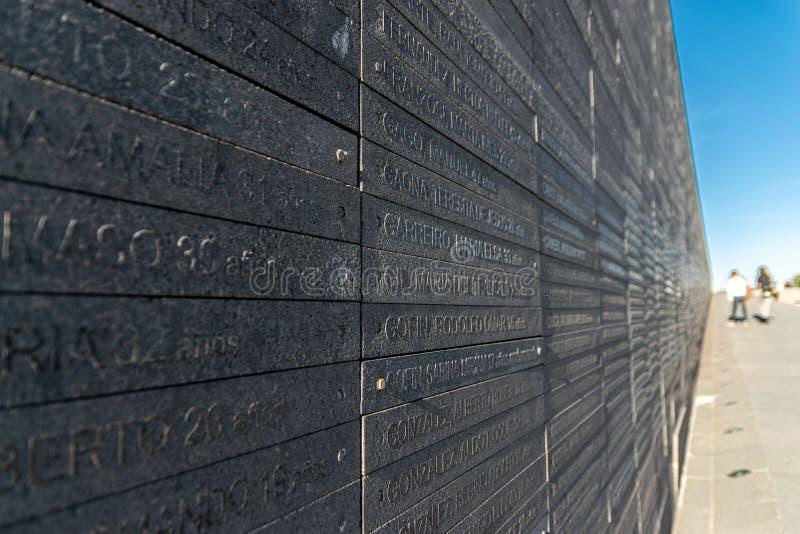 Стена с именами жертв насилия государства в парке памяти в Буэносе-Айрес, Аргентине стоковые изображения