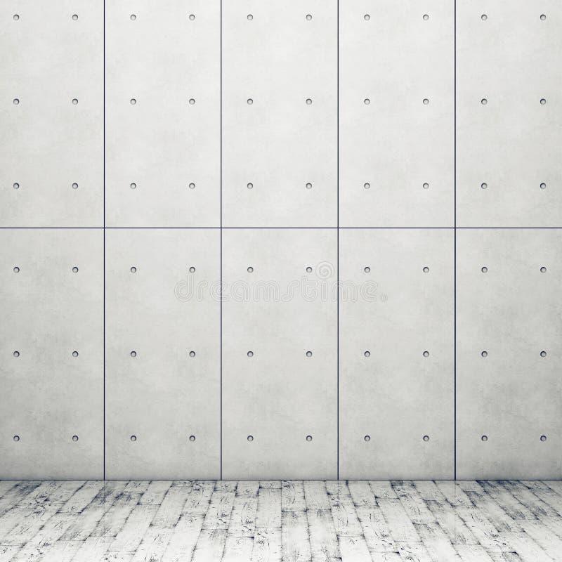 Стена с конкретными панелями и деревянным полом иллюстрация вектора