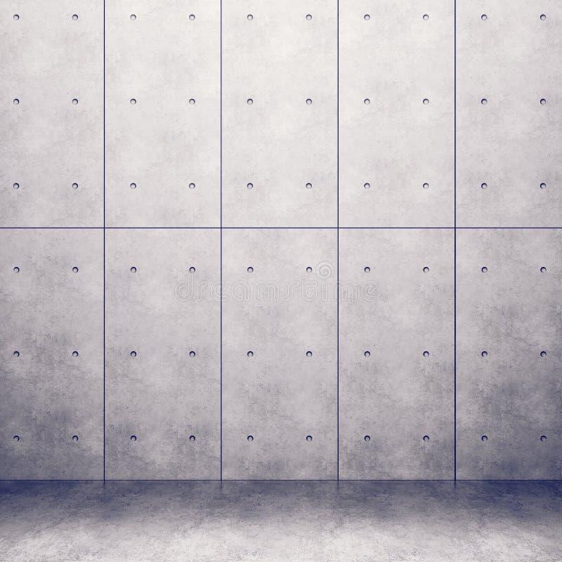 Стена с конкретными панелями и лоснистым конкретным полом иллюстрация штока