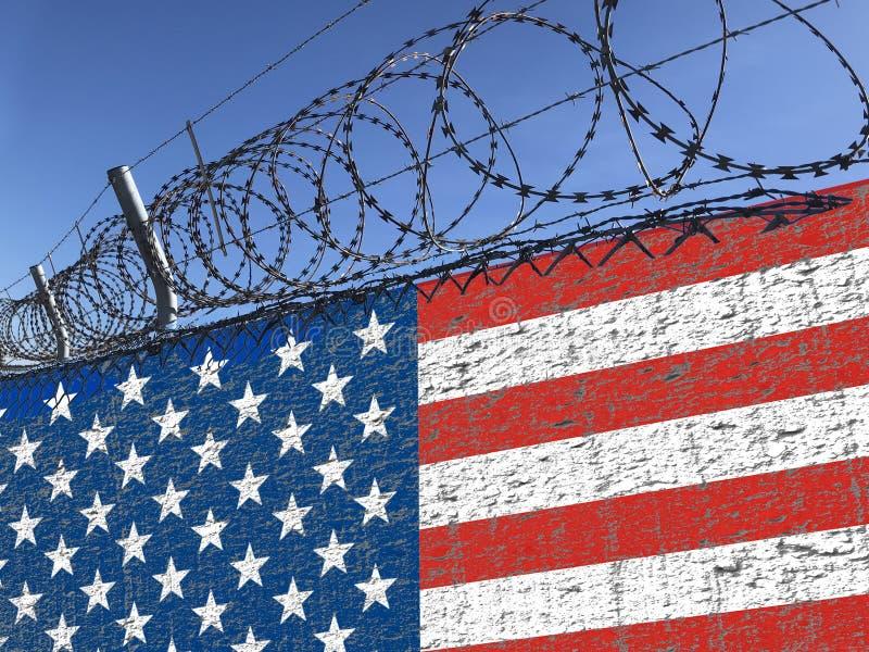Стена с неровной американского сталью флага и колючей проволоки на верхней части иллюстрируя иммиграцию от мексиканських вопросов стоковое изображение