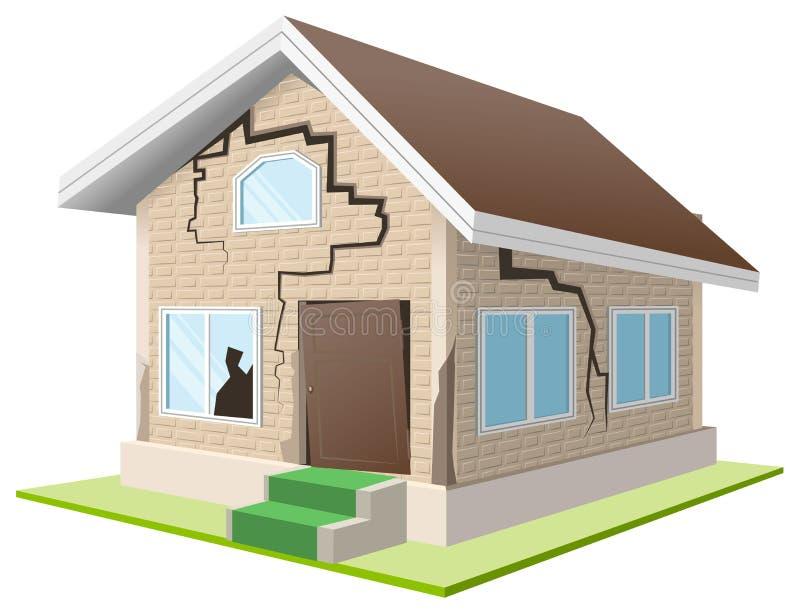 Стена треснутая землетрясением дома Загородный дом Свойство insurance бесплатная иллюстрация