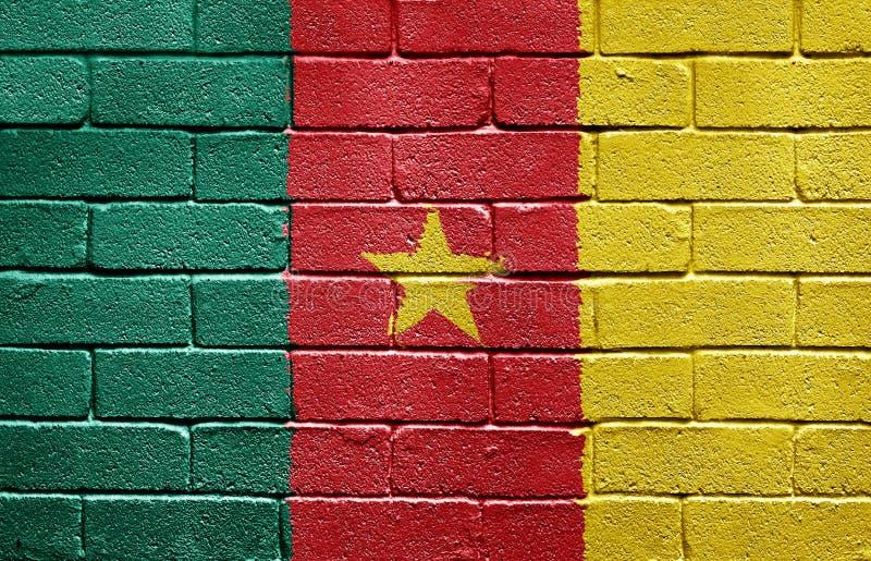 стена флага Камеруна кирпича стоковое фото rf