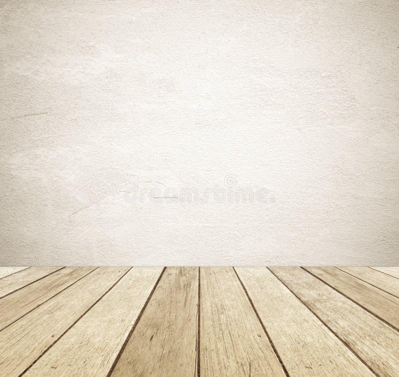 Стена цемента grunge Брайна и предпосылка перспективы винтажная деревянная стоковое изображение
