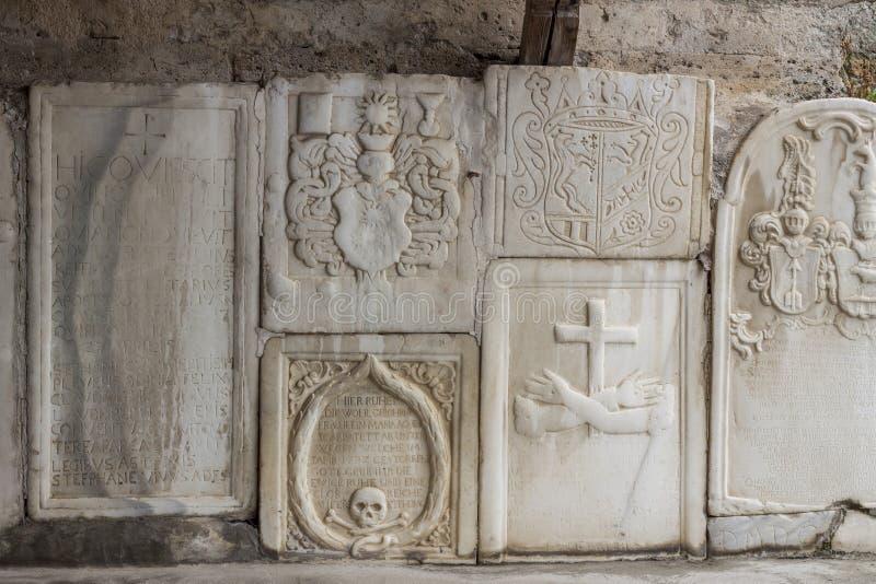 Стена церков St. John в Mustair, мире ЮНЕСКО культурном она стоковая фотография