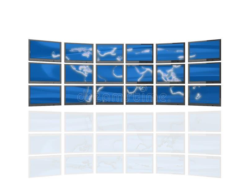 стена экранов иллюстрация штока