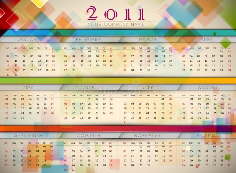 стена 2011 календара цветастая иллюстрация вектора