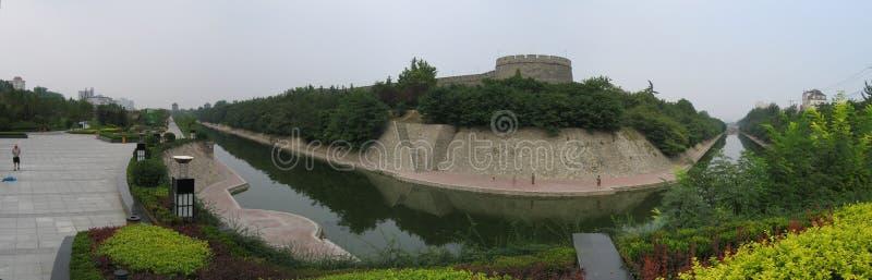 стена xian панорамы города стоковое изображение