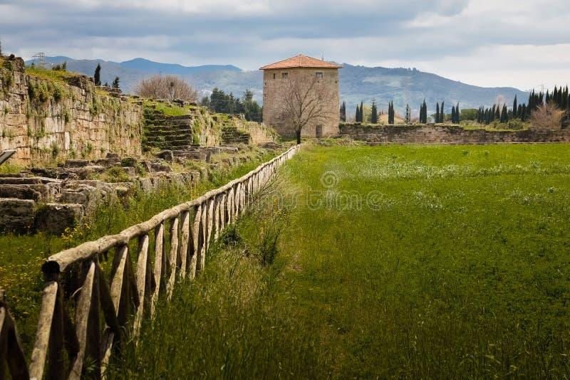 Стены города и башня вахты Paestum salerno Кампания Италия стоковое изображение rf