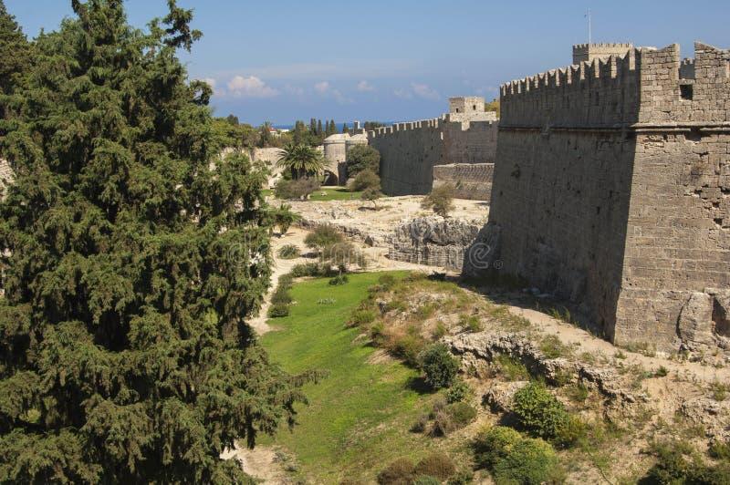 Стены города RHODES/GREECE городка Родоса старого стоковая фотография