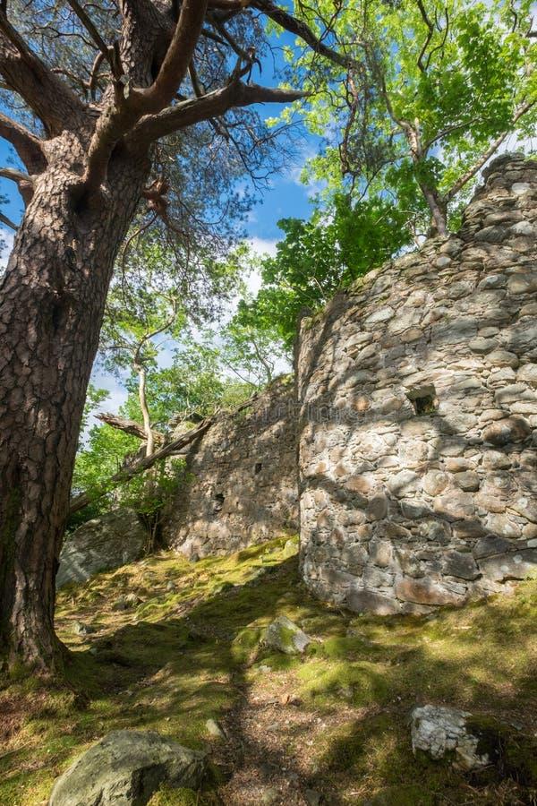 Стены замка на острове Inveruglas стоковые изображения