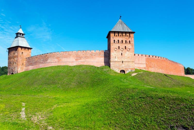 Стены Кремля в Veliky Новгороде стоковое фото rf