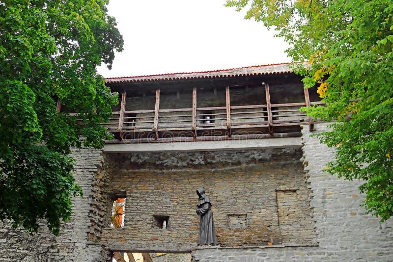 Стены крепости Таллина и статуя монаха, Эстонии Стены и много стробов все еще в большинстве extant сегодня стоковые фотографии rf