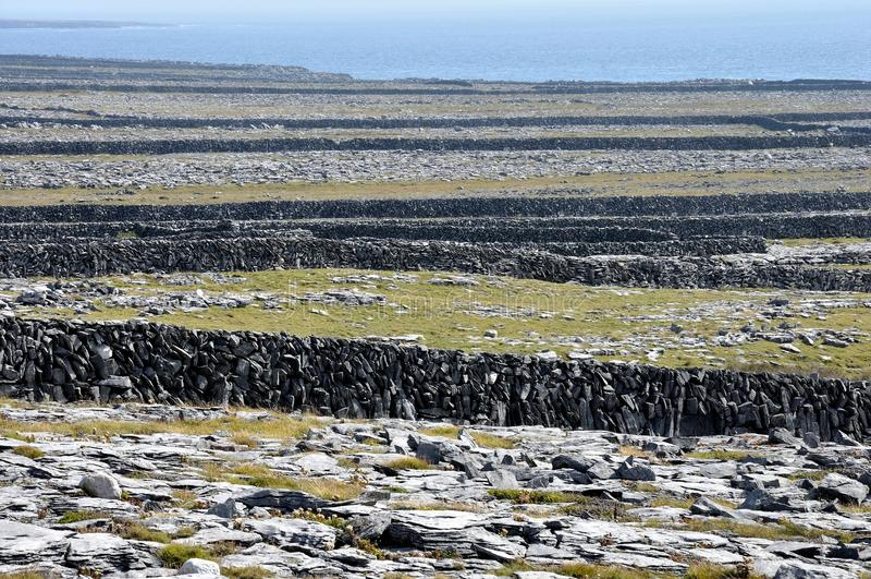 Стены острова Ирландии Aran каменные стоковые фотографии rf