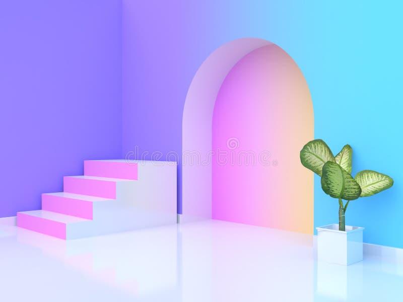 стен-комната градиента белой лестница-лестницы пинка конспекта бака дерева перевода 3d фиолетов-пурпурная голубая желтая розовая иллюстрация штока