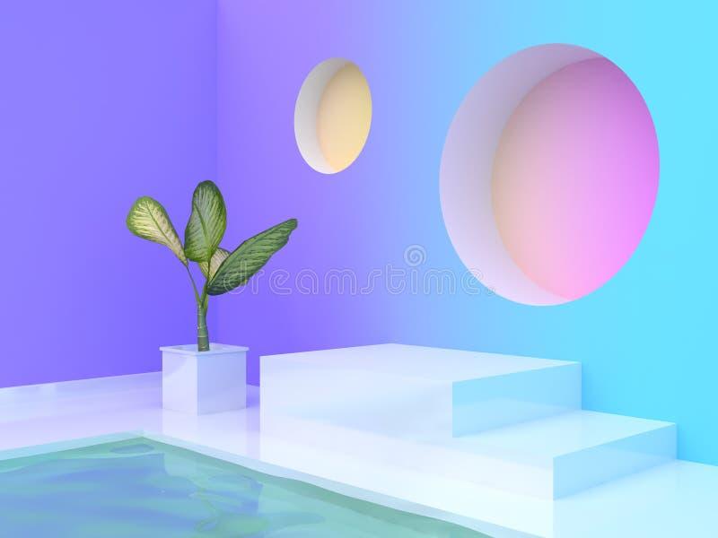 стен-комнаты градиента конспекта бака дерева водного бассейна перевода 3d подиум фиолетов-пурпурной голубой желтой розовой пустой бесплатная иллюстрация