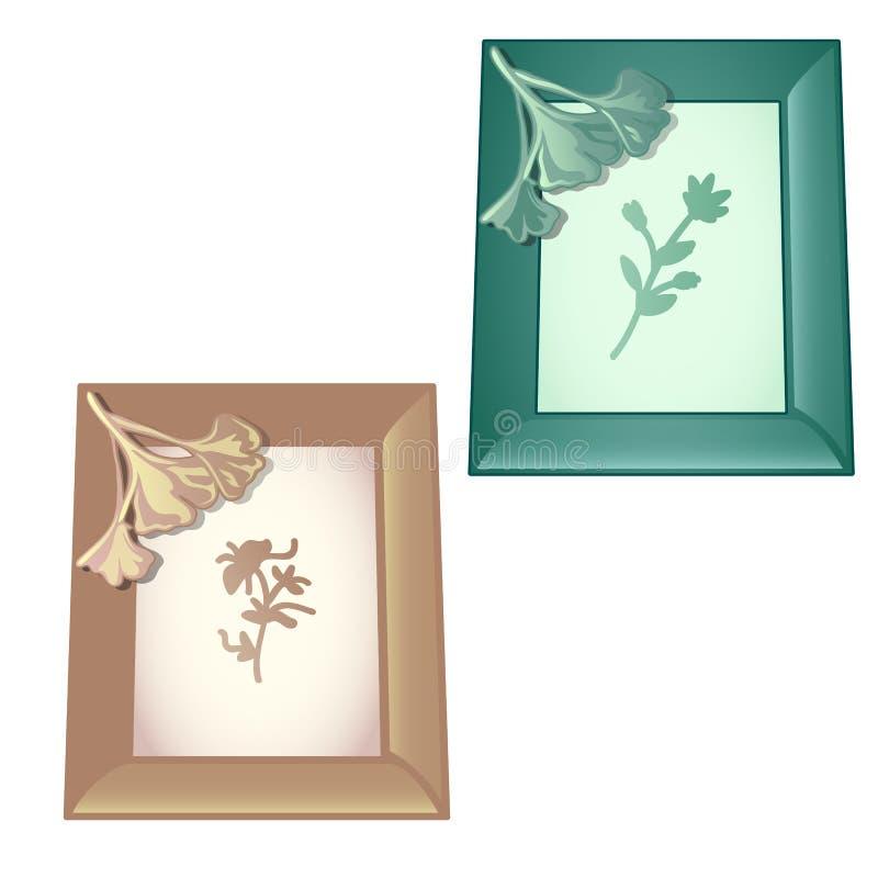 2 стен-установили деревянную рамку с дизайнами на теме овоща изолированной на белой предпосылке Конец шаржа вектора иллюстрация вектора