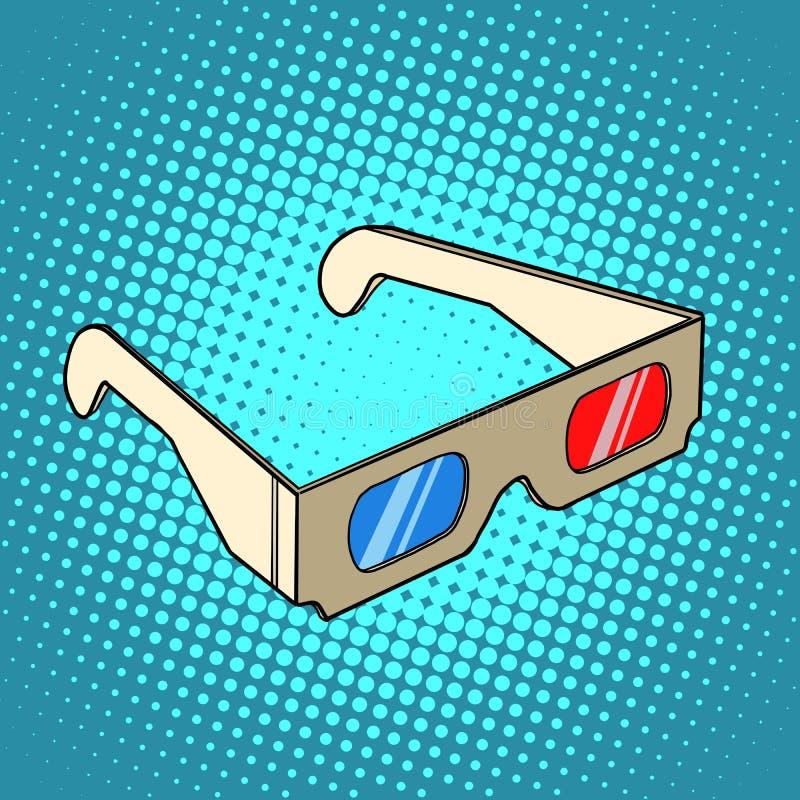 Стерео стекла 3d для кино иллюстрация вектора