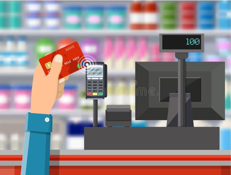 Стержень Pos подтверждает оплату карточкой банка иллюстрация вектора