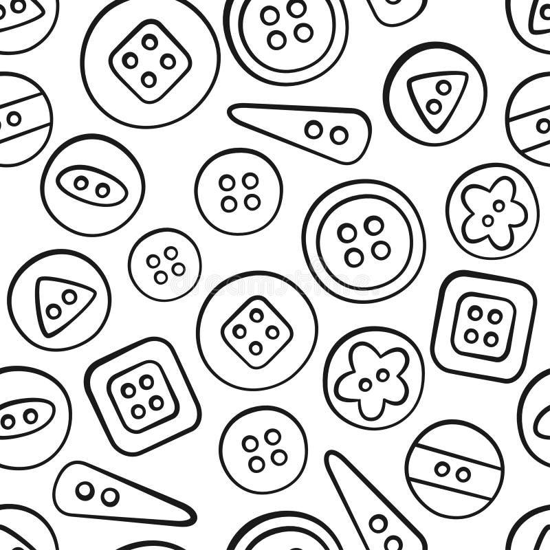 стержни Шить и needlework Инструменты и вспомогательное оборудование Безшовная картина в стиле doodle и шаржа линейно иллюстрация вектора