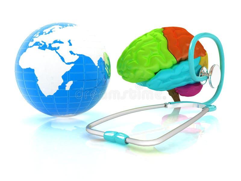 Стетоскоп, глобус, мозг - глобальная медицинская концепция бесплатная иллюстрация