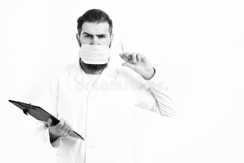 стетоскоп дег микстуры лож принципиальной схемы установленный Бородатый зверский кавказский доктор или аспирантский студент стоковое изображение