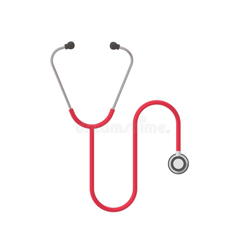 Стетоскоп изолировал иллюстрацию вектора, плоское clipart медицинской службы шаржа иллюстрация штока