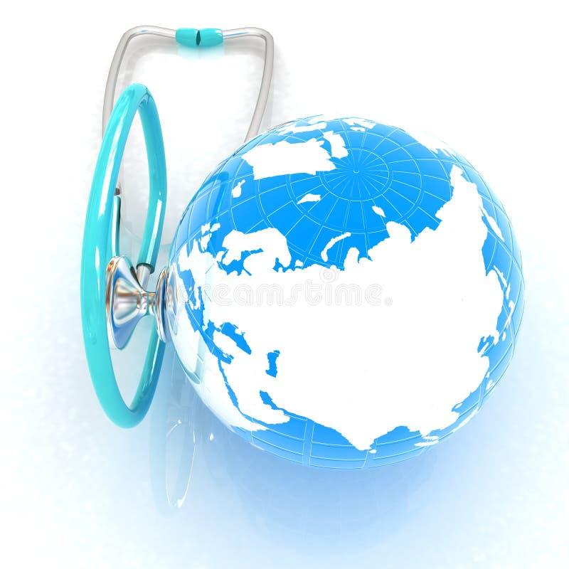 Стетоскоп и глобус иллюстрация 3d иллюстрация вектора