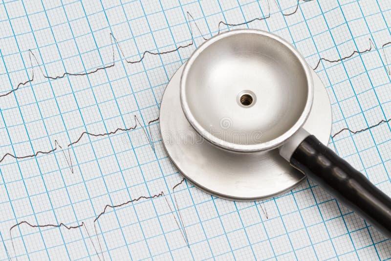 Стетоскоп и диаграмма ECG стоковые изображения rf
