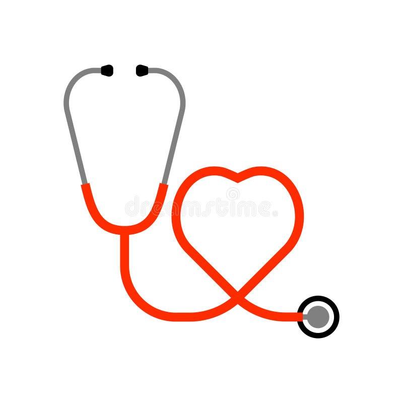 Стетоскоп и сердце иллюстрация штока