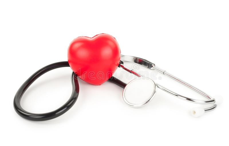 Стетоскоп и сердце стоковое фото rf