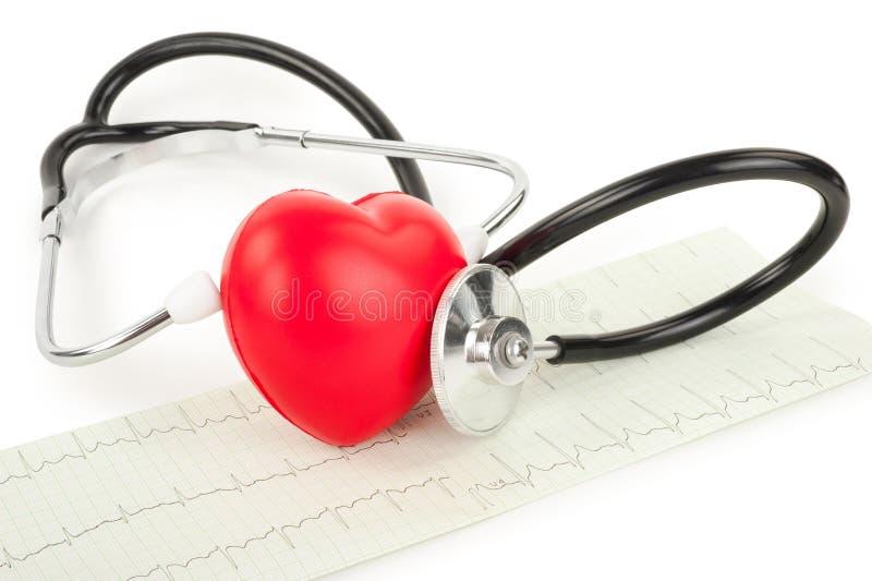 Стетоскоп и сердце стоковая фотография