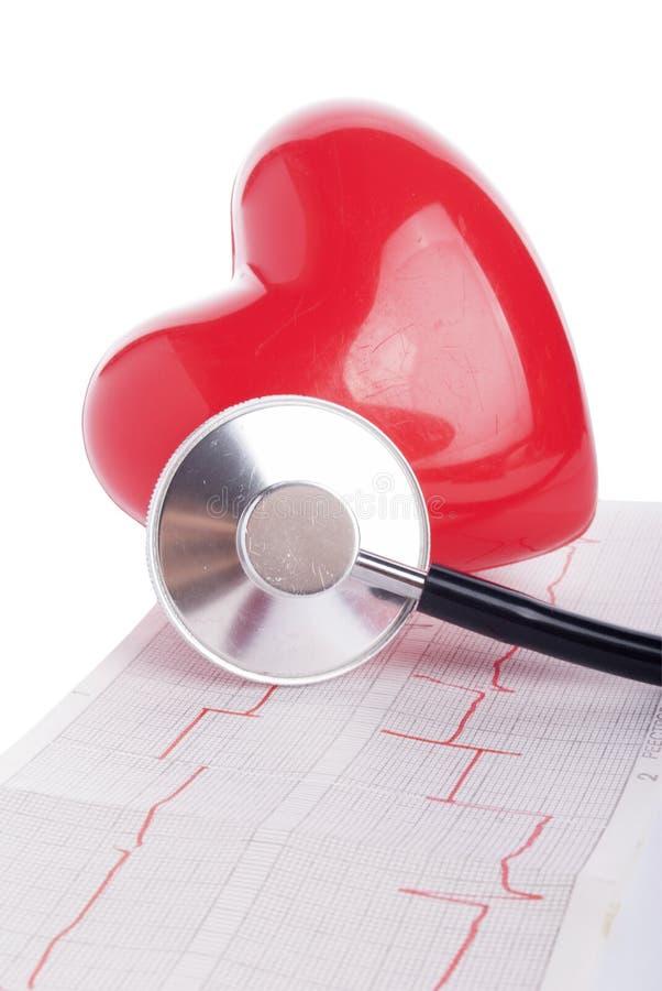 стетоскоп красного цвета сердца cardiogram стоковое изображение rf