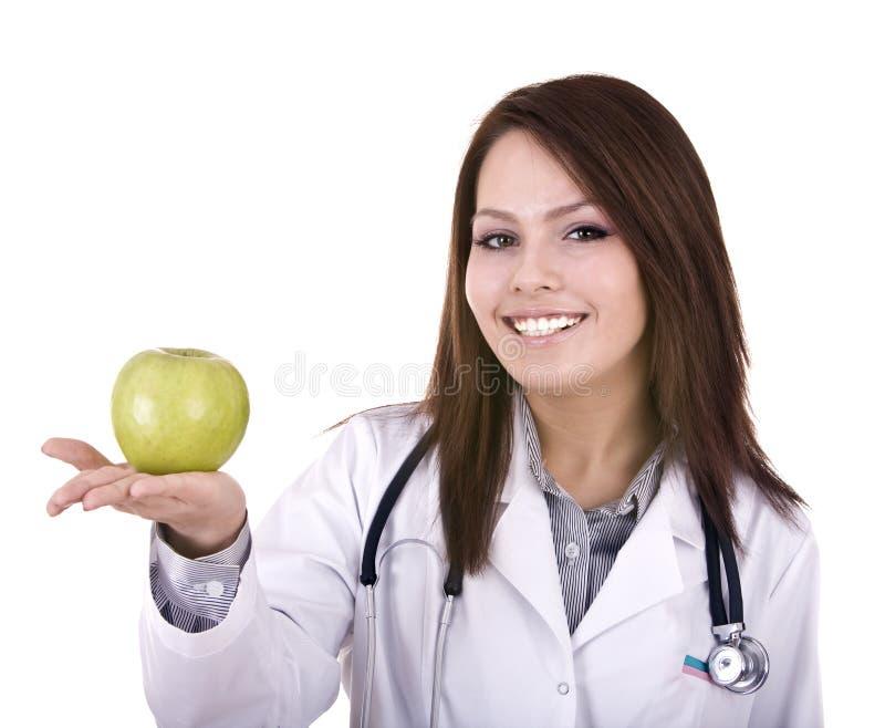 стетоскоп портрета доктора яблока стоковые изображения rf