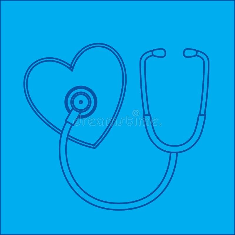 стетоскоп сердца светокопии иллюстрация штока