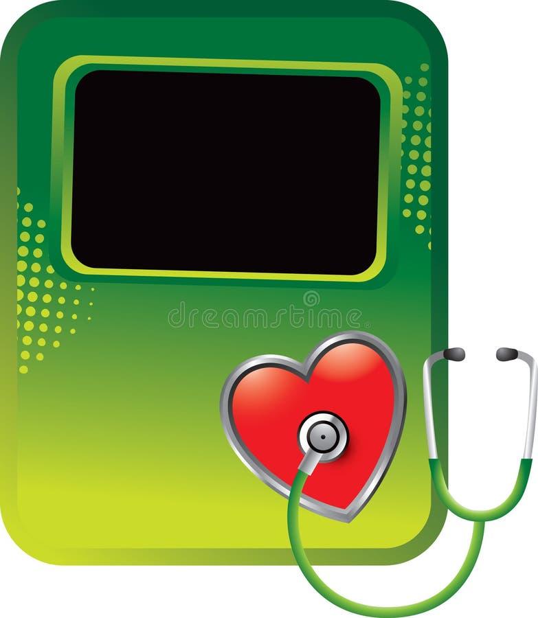 стетоскоп сердца halftone знамени зеленый иллюстрация вектора