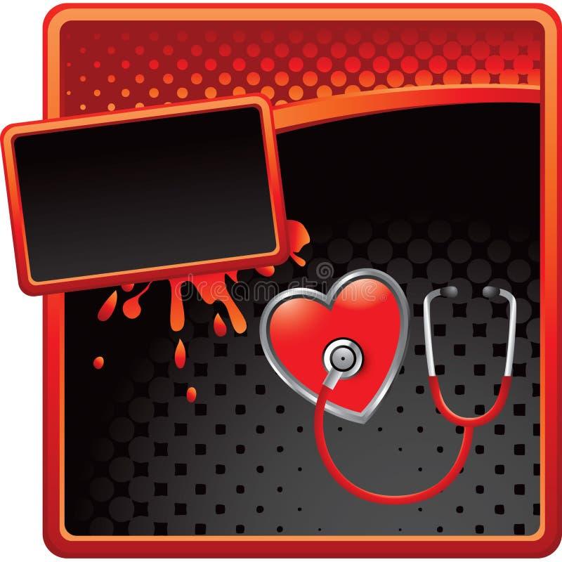 стетоскоп сердца halftone рекламы иллюстрация штока