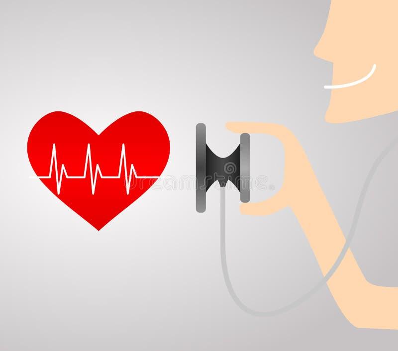 Стетоскоп с линией сердцем ecg красного цвета стоковые изображения rf