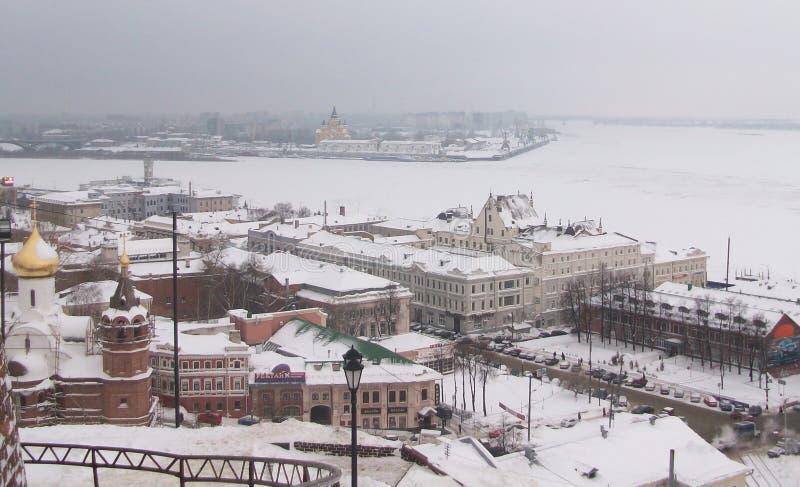 Стечение рек Oka и Волга стоковые изображения