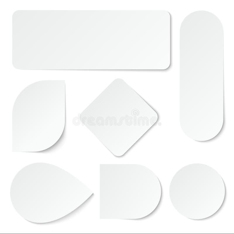 Стикеры белой бумаги Ярлыки пробела, бирки в прямоугольном и округлая форма Изолированный комплект вектора иллюстрация вектора