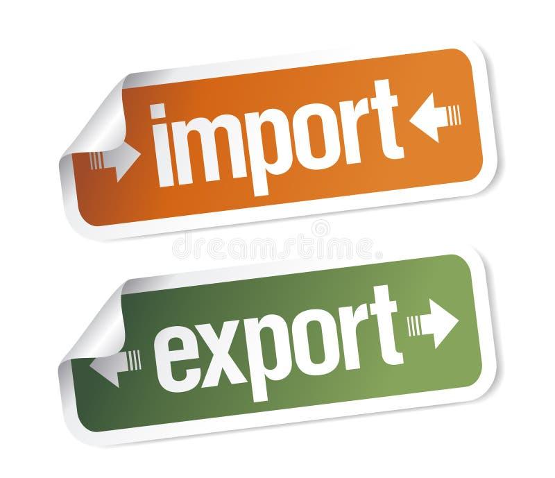 стикеры ввоза экспорта иллюстрация вектора