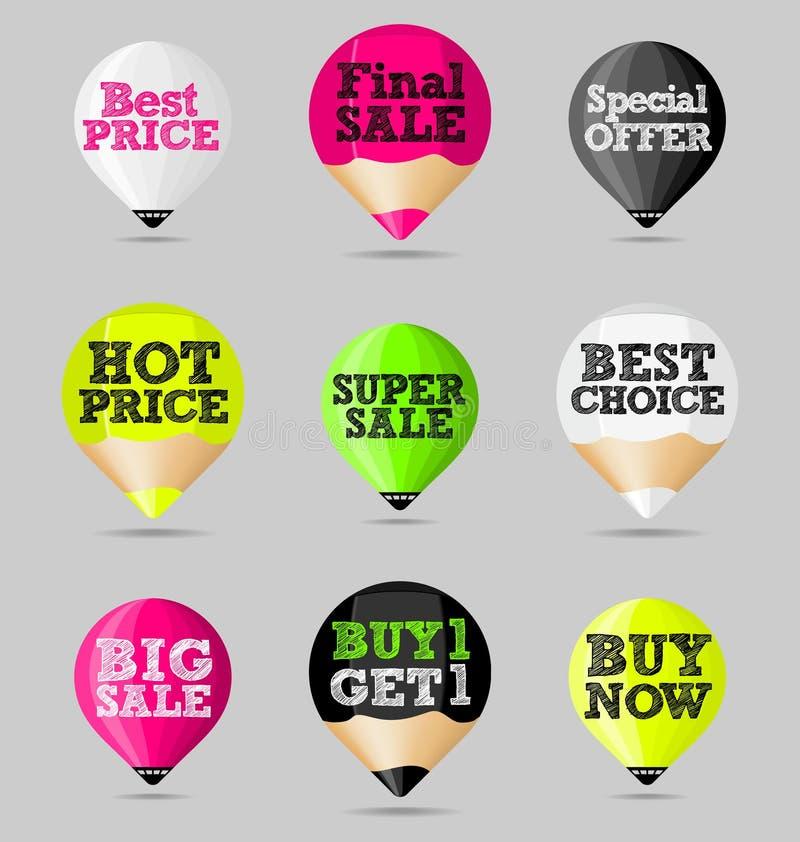 Стикеры, значки, знамена Комплект абстрактных предложений продажи бесплатная иллюстрация
