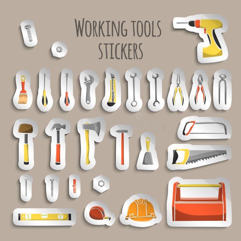 Стикеры значков инструментов деятельности плотника бесплатная иллюстрация