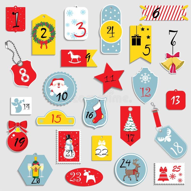 Стикеры и значки иллюстрации вектора установленные для рождества, Нового Года иконы элементов рождества шаржа календара пришестви бесплатная иллюстрация