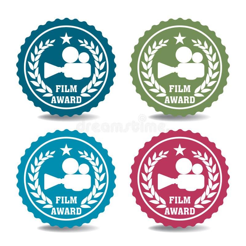 Стикеры награды фильма иллюстрация вектора